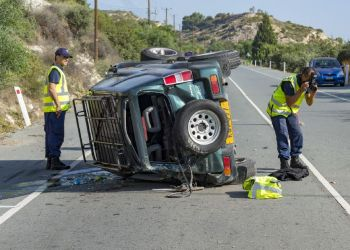 На трассе Платрес — Лимассол перевернулся джип. Водитель погиб